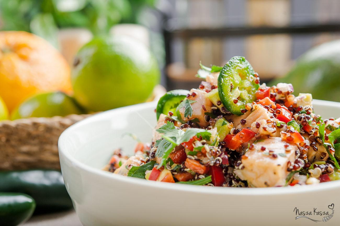 Ceviche z łososiem i czarną komosą ryżową